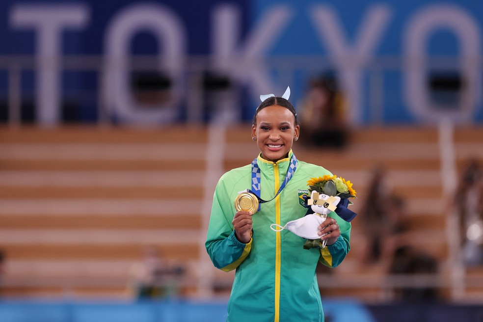 Rebeca Andrade medalha ouro salto Olimpíadas Tóquio — Foto: Laurence Griffiths/Getty Images